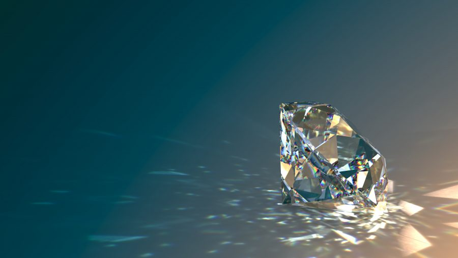 Round cut diamond on gradient background, sparkles, shadow, caustics rays. 3D rendering